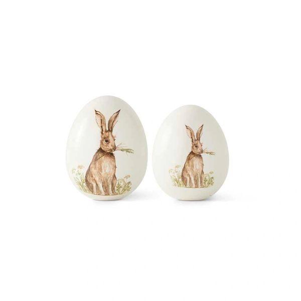 Large White Ceramic Tabletop Eggs W/Bunny