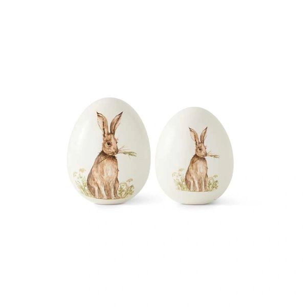 Small White Ceramic Tabletop Egg W/Bunny