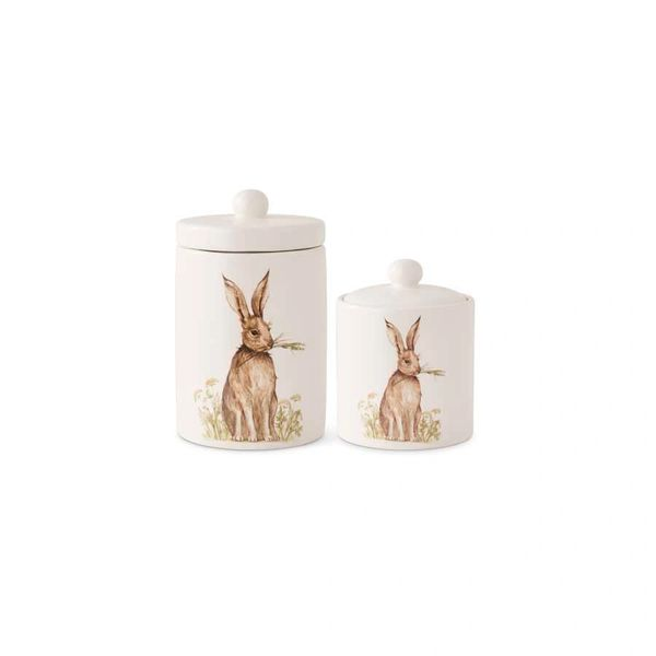 Small White Ceramic Canisters W/Bunny