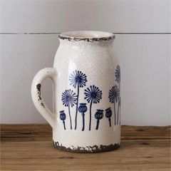 Ceramic Dandelion Jug W/Handle