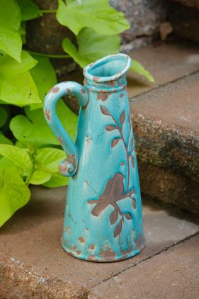 Turquoise Birds & Branches Pitcher