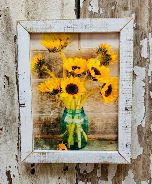 Country Sunflowers Lath Frame