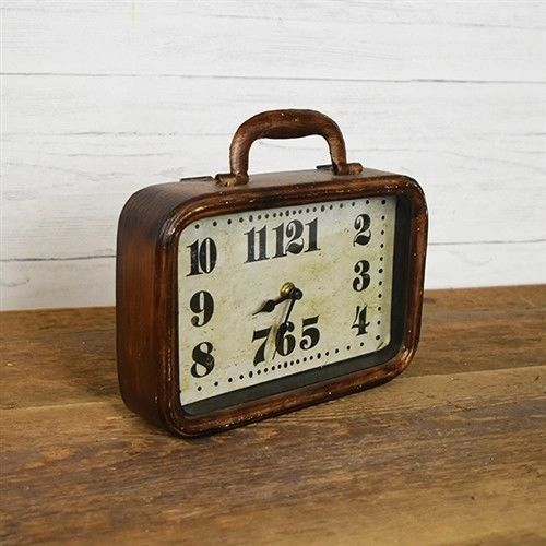 Vintage Inspired Suitcase Tabletop Clock