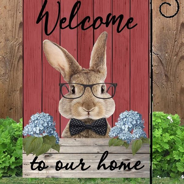 Welcom Bunny W/Glasses Garden Flag