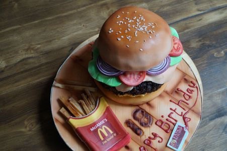 novelty burger cake