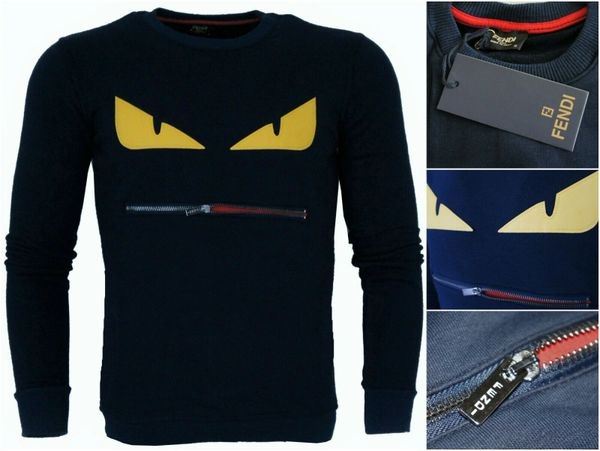 5f7c71545 New Men's Fendi Navy Blue Sweatshirts Zipper Mouth Yellow Monster Eyes  Jumpers.