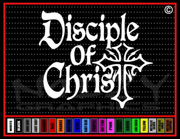 Disciple Of Christ Cross Vinyl Decal / Sticker
