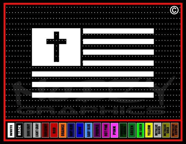 American Flag Cross Vinyl Decal / Sticker