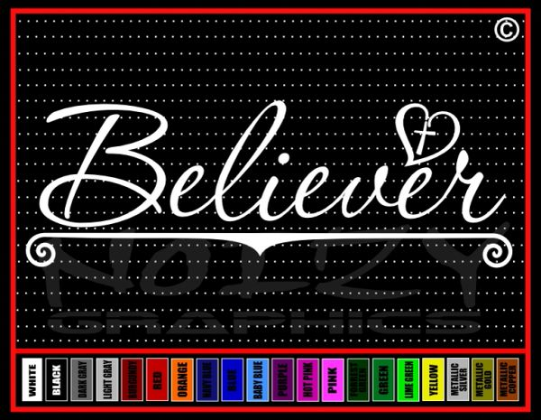 Believer Cross Heart Vinyl Decal / Sticker