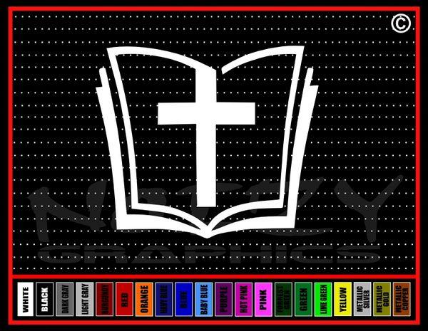 Bible Cross Vinyl Decal / Sticker