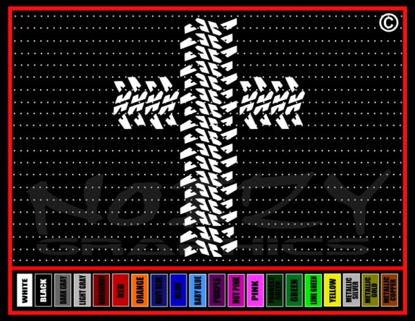 Cross #5 Tire Tracks Vinyl Decal / Sticker
