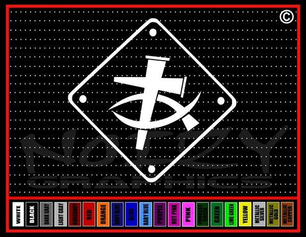Cross Fish #4 Sign Vinyl Decal / Sticker