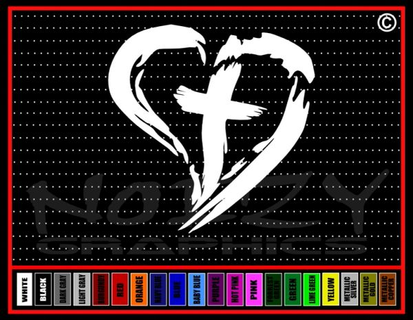 Cross Heart #3 Vinyl Decal / Sticker