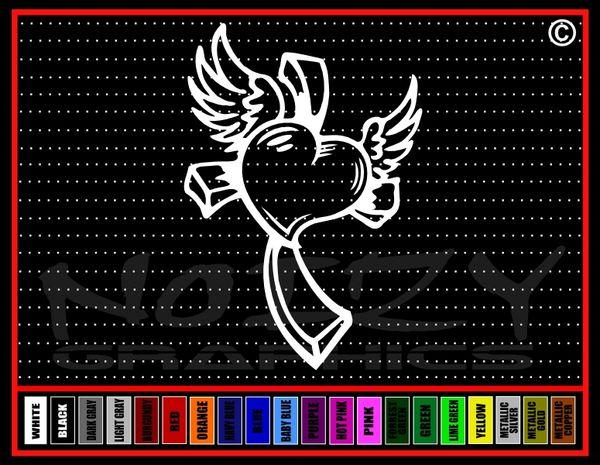 Cross Heart #4 Vinyl Decal / Sticker
