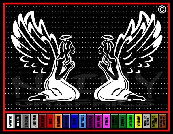 Angel #2 Pair Alienated Vinyl Decal / Sticker