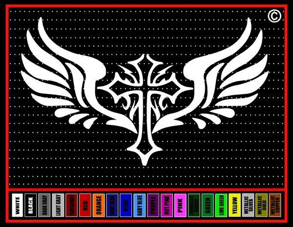 Cross Wings #4 Vinyl Decal / Sticker
