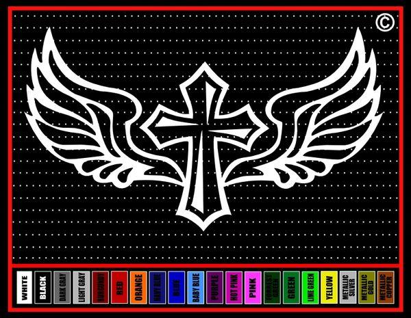 Cross Wings #5 Vinyl Decal / Sticker