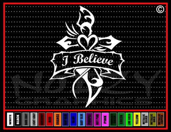I Believe Cross #2 Vinyl Decal / Sticker