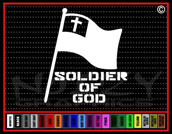 Soldier Of God Flag Vinyl Decal / Sticker