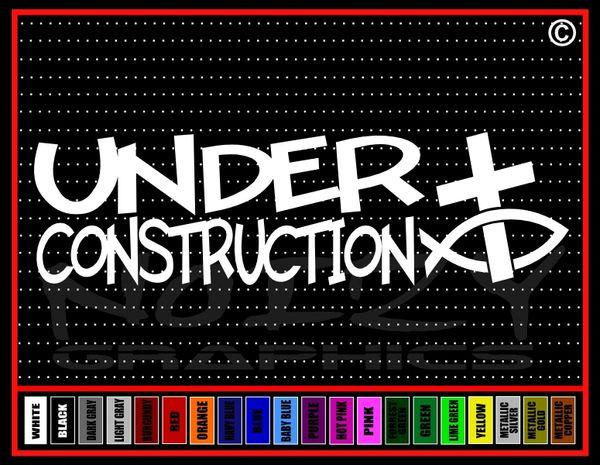 Under Construction Cross Fish Vinyl Decal / Sticker