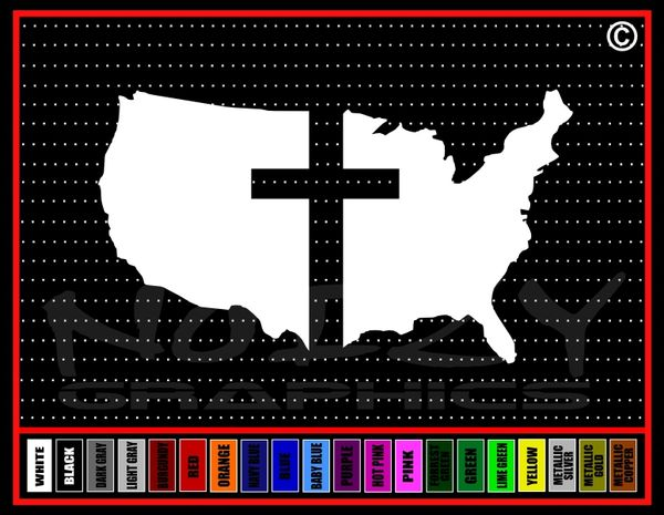 United States Cross Vinyl Decal / Sticker
