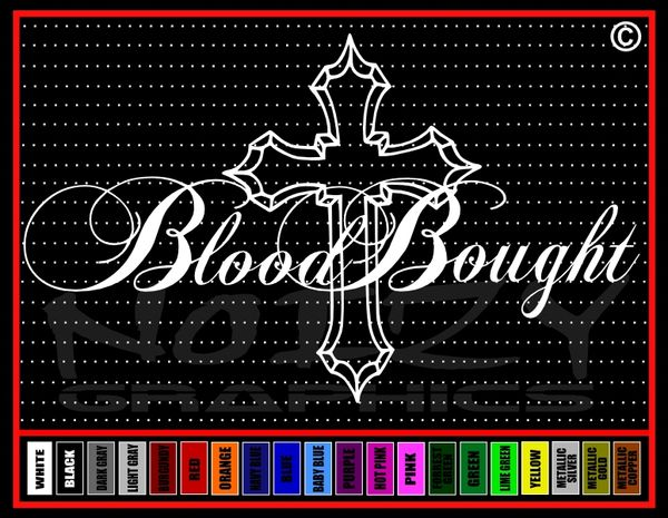 Blood Bought Cross Vinyl Decal / Sticker
