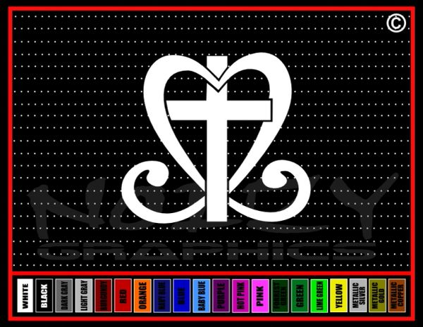 Cross Heart Vinyl Decal / Sticker