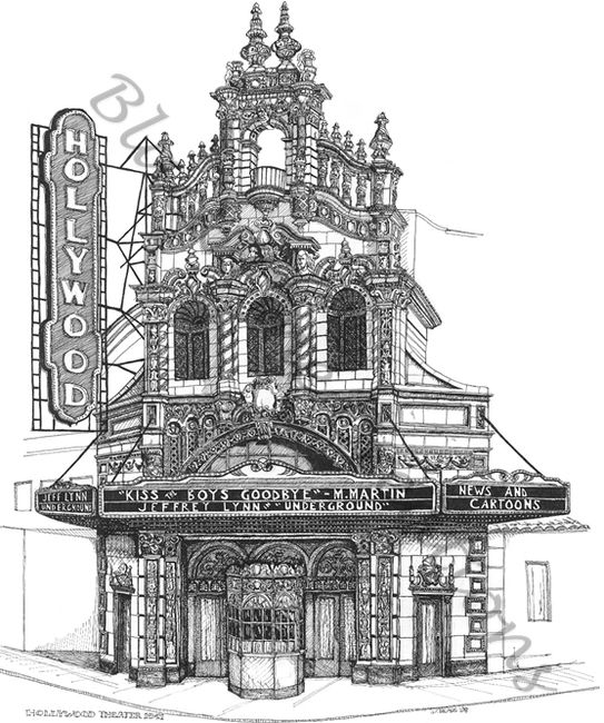 Original pen and ink artwork of the Hollywood Theater, Portland Oregon