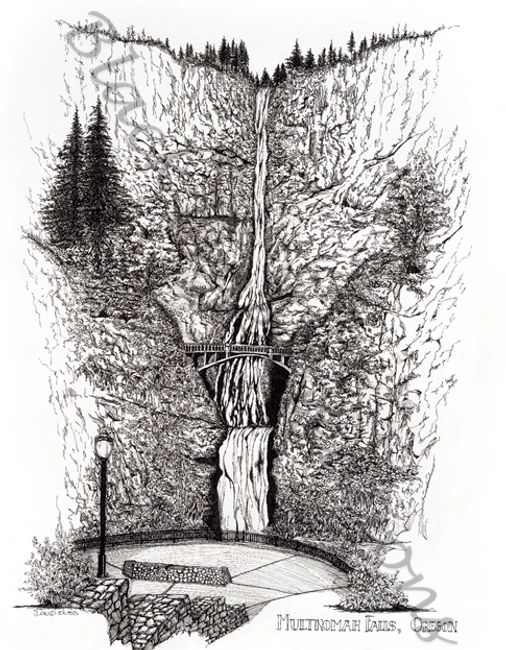 Original pen and ink artwork of Multnomah Falls, Columbia River Gorge, Oregon