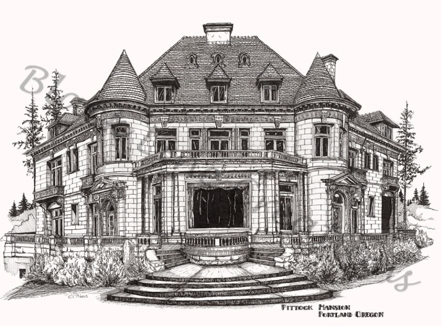 Original pen and ink artwork of the Pittock Mansion, Portland Oregon