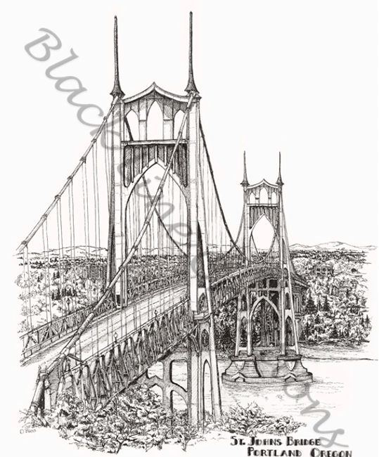 Original pen and ink artwork of St. Johns Bridge Portland Oregon