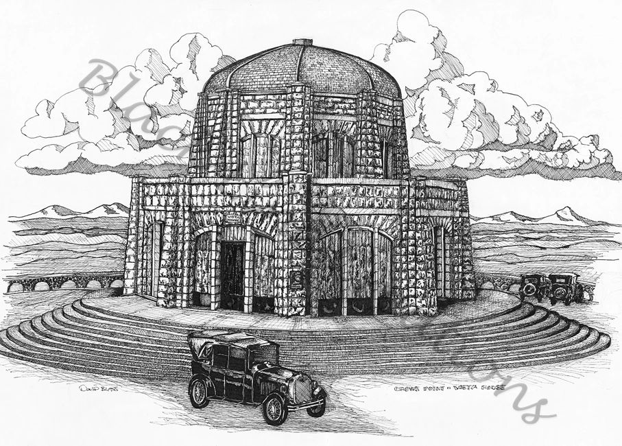 Original pen and ink artwork of the Vista House, Columbia River Gorge, Oregon