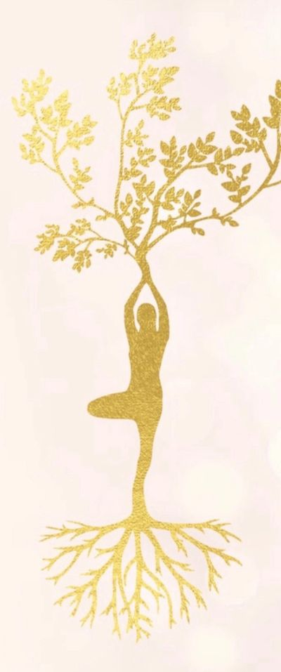 Tree pose with roots from feet to ground and branches extending from hands.