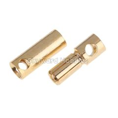 Gold Coated Banana Connector 6mm Bullet Style - 4 pairs