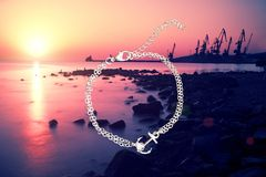 Saltwater Stud Ladies Anchor Bracelet