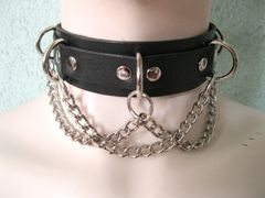 Choker 3C Leather Choker W/ 5 D Rings and Chain