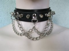 Leather Spike and Chain Choker 14CCH