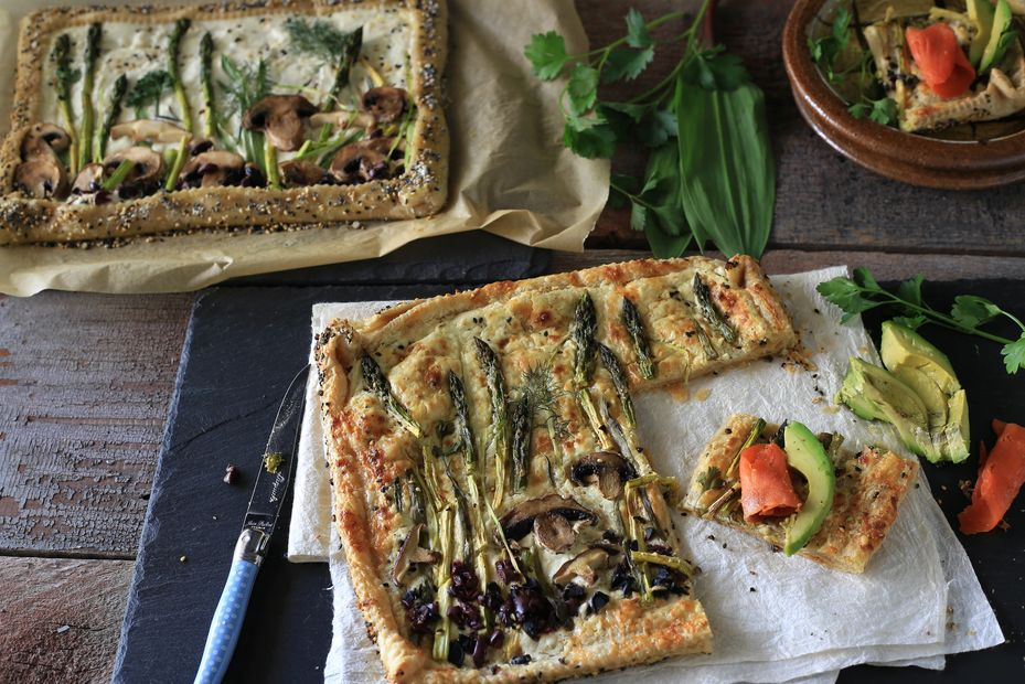 healthy vegetarian plant based homemade puff pastry tart savory fun recipe