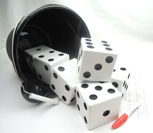 Black & White Wooden Yard Dice - Set of 6