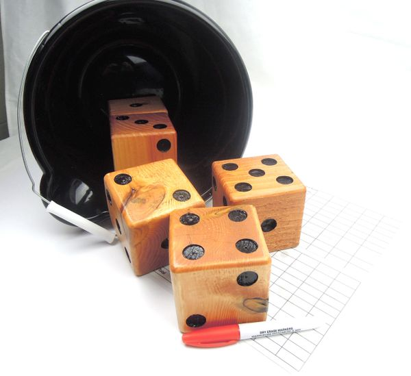Natural Wooden Yard Dice - Set of 5