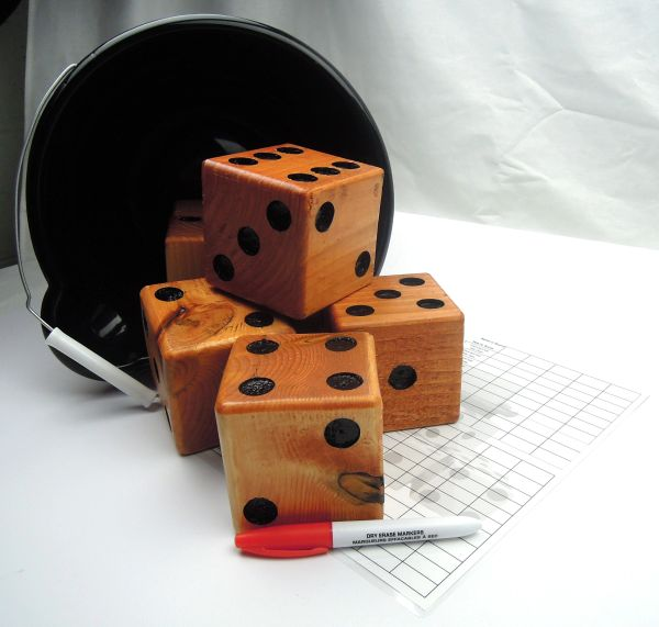 Natural Wooden Yard Dice - Set of 6