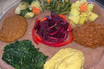 Ethiopian Veggie combination plate all Vegan on Ethiopian bread