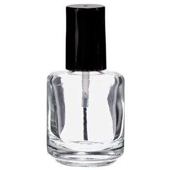 Clear Nail Polish Bottle with Brush & Cap 0.5oz