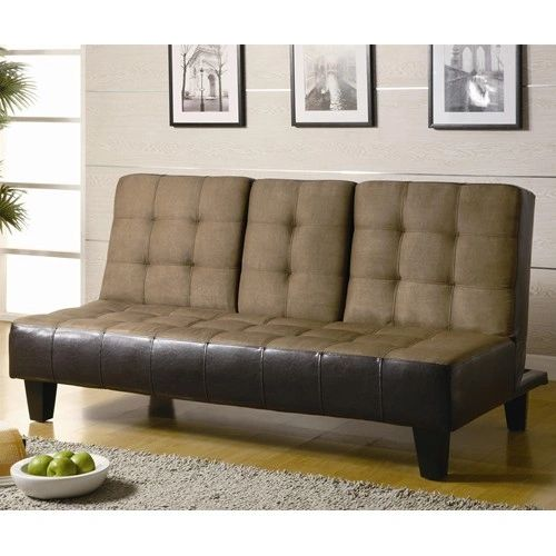 Sofa Beds and Futons Contemporary Two Tone Convertible Sofa Bed with Drop  Down Console