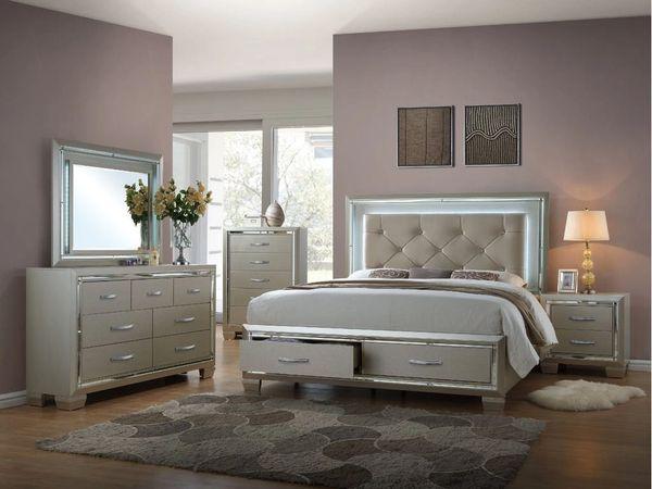 Sensational Platinum Storage Bedroom Set Queen Bed Dresser Mirror And Nightstand Interior Design Ideas Tzicisoteloinfo