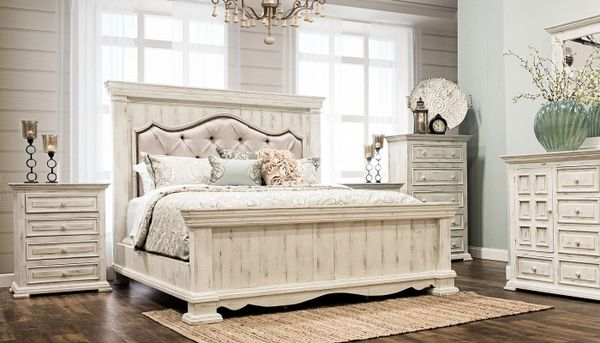 King Padded Bedroom set | Distressed White | king bed, dresser, mirror and  nightstand | Chalet