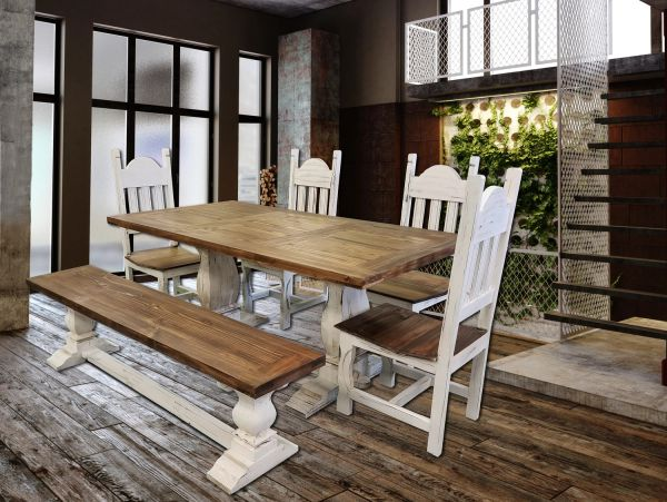 Pleasant Antique White Pedestal Dining Table With Bench And 4 Chairs Rustic Andrewgaddart Wooden Chair Designs For Living Room Andrewgaddartcom