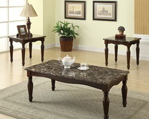 Pleasing Faux Marble Top Coffee Table With Two End Tables Ocoug Best Dining Table And Chair Ideas Images Ocougorg