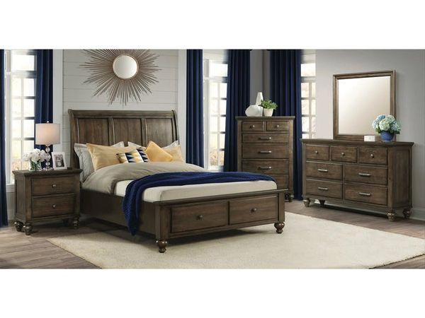 Chatham Gray Storage King Bedroom Set | Bed,Mirror,Nightstand,Dresser