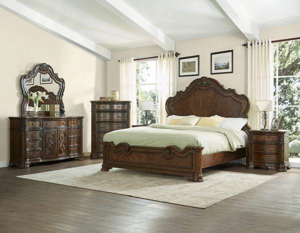 Amazing Royale Queen Bedroom Set Queen Bed Dresser Mirror And Nightstand Interior Design Ideas Tzicisoteloinfo